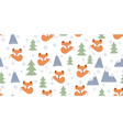 scandinavian seamless with foxes vector image vector image