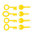 set different yellow key icon vector image vector image