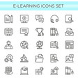 set of e-learning line icons vector image