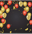 set of gold red yellow helium ball isolated in vector image