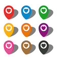 set of nine colorful map pointers with heart icon vector image