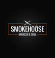 smokehouse logo design on black background vector image vector image