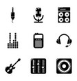 sound accompaniment icons set simple style vector image vector image