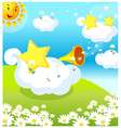Sun clouds and star vector image vector image