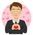 teenager boy making heart shape sign vector image vector image