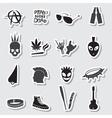 various black punk stickers set eps10 vector image vector image