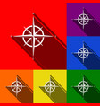 wind rose sign set of icons with flat vector image vector image