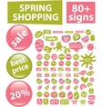 80 spring shopping signs vector image