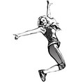 jumping woman vector image