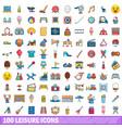 100 leisure icons set cartoon style vector image
