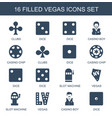 16 vegas icons vector image vector image