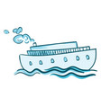 a blue steam ship or color vector image vector image