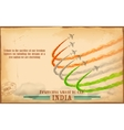 Airplane making Indian tricolor flag in sky vector image vector image