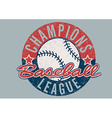 Baseball Champions league distressed print vector image vector image