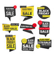 black friday sale banner set discount tag vector image vector image