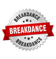 Breakdance 3d silver badge with red ribbon