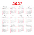 calendar for 2021 year week starts sunday vector image vector image