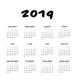 calendar - year 2019 week starts from vector image vector image