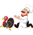 cartoon chef trying to catch a turkey vector image vector image