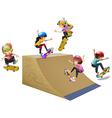 Children skateboard on wooden ramp vector image vector image