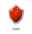 china flag on metal shiny shield vector image