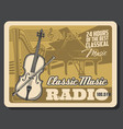 classic musical instruments classical music radio vector image vector image