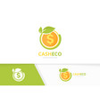 coin and leaf logo combination money and vector image vector image