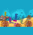 colorful underwater scene with sea horses vector image vector image