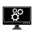 computer display with gears machine vector image vector image