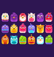 cute colorful birds sett with different emotions vector image vector image