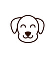 cute face dog animal cartoon icon thick line vector image vector image