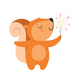 cute squirrel with a party popper lovely cartoon vector image vector image