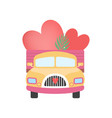 cute truck full red hearts front view vector image