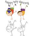 doodle boy character dancing vector image