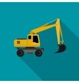Excavator flat icon vector image vector image