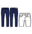 front and back view of pants vector image vector image