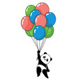 funny panda with balloons flying vector image vector image