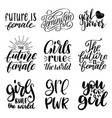 girls rule the world grl pwr etc hand lettering vector image vector image