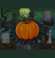 halloween pumpkin on cemetery background vector image vector image