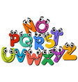 happy alphabet letter characters cartoon vector image vector image
