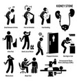 kidney stone icons pictogram and diagrams depict vector image