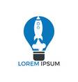 light bulb and rocket logo design vector image