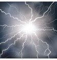 lightning with branches in fog vector image vector image