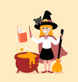 little girl witch conjures on halloween vector image
