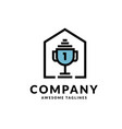 logo combination house and winning trophy vector image