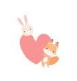 lovely white little bunny and fox cub holding big vector image