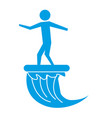 man standing on surfboard riding wave pictogram vector image