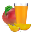 mango juice in a glass and fruit vector image vector image