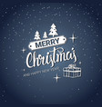merry christmas card text calligraphic lettering vector image