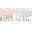 nashville tennessee usa city skyline in paper cut vector image